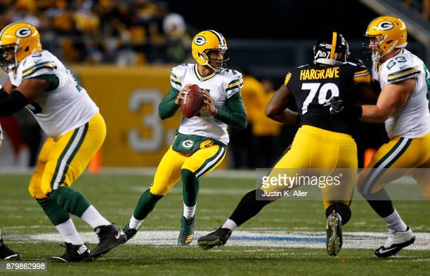 Brett Hundley of the Green Bay Packers drops back to pass in the first quarter during the game against the Pittsburgh Steelers at Heinz Field on...