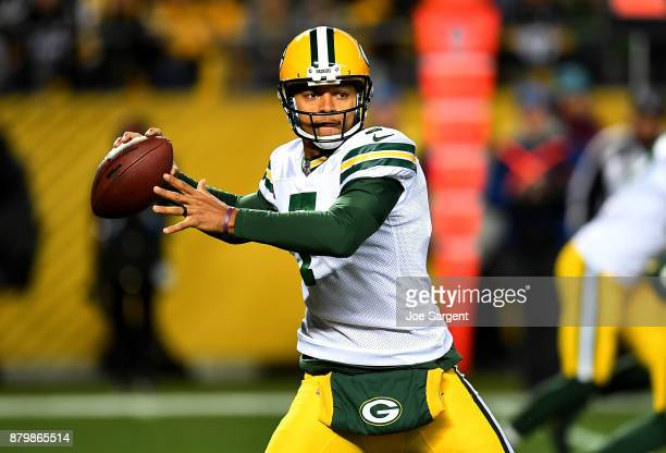 Brett Hundley of the Green Bay Packers drops back to pass in the first half during the game against the Pittsburgh Steelers at Heinz Field on...