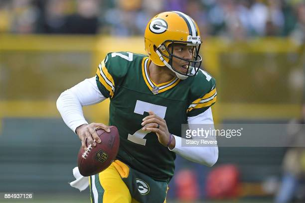 Brett Hundley of the Green Bay Packers looks to pass during the second half against the Tampa Bay Buccaneers at Lambeau Field on December 3 2017 in...