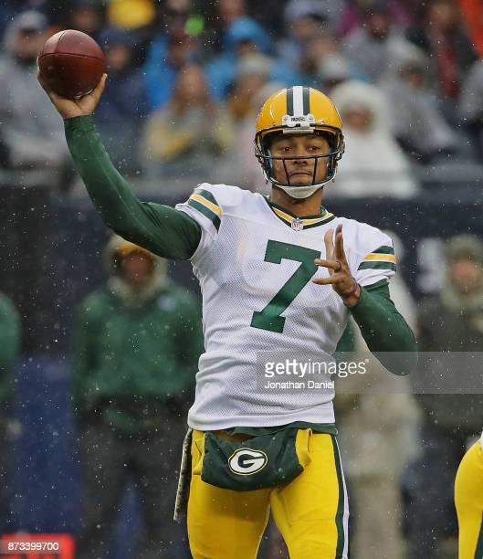 Brett Hundley of the Green Bay Packers passes against the Chicago Bears at Soldier Field on November 12 2017 in Chicago Illinois The Packers defeated...