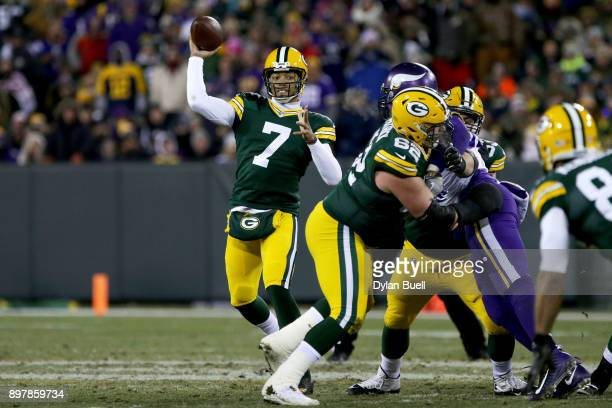 Brett Hundley of the Green Bay Packers throws a pass in the second quarter against the Minnesota Vikings at Lambeau Field on December 23 2017 in...
