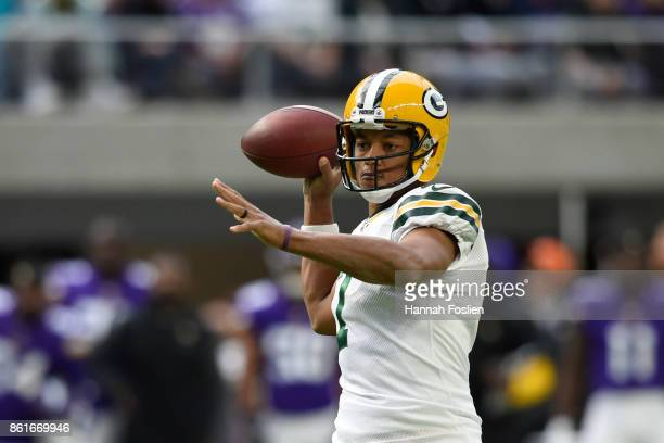 Brett Hundley of the Green Bay Packers throws the ball during the second quarter of the game against the Minnesota Vikings on October 15 2017 at US...
