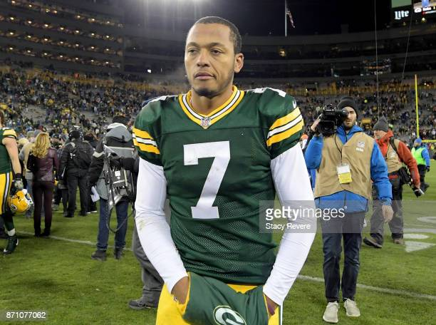 Brett Hundley of the Green Bay Packers walks off the field after losing to the Detroit Lions 3017 at Lambeau Field on November 6 2017 in Green Bay...