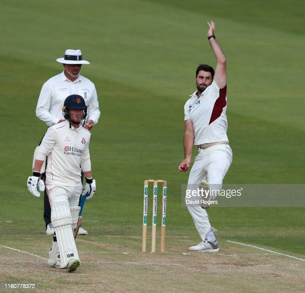 Brett Hutton of Northamptonshire bowls during the Specsavers County Championship division two match between Northamptonshire and Lancashire at The...
