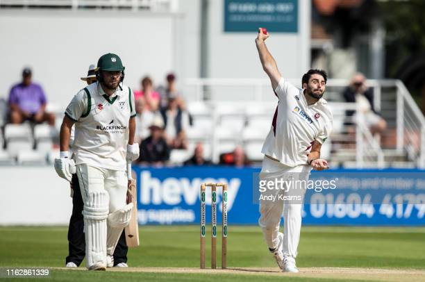 Brett Hutton of Northamptonshire in delivery stride during the Specsavers County Championship division two match between Northamptonshire and...
