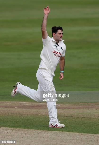 Brett Hutton of Nottinghamshire celebrates after taking the wicket of David Murphy during the Specsavers County Championship Division Two match...
