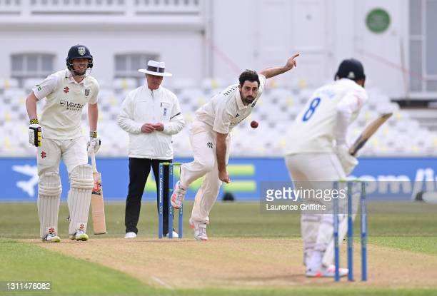 Brett Hutton of Nottinghamshire in action during the LV Insurance County Championship match between Nottinghamshire and Durham at Trent Bridge on...