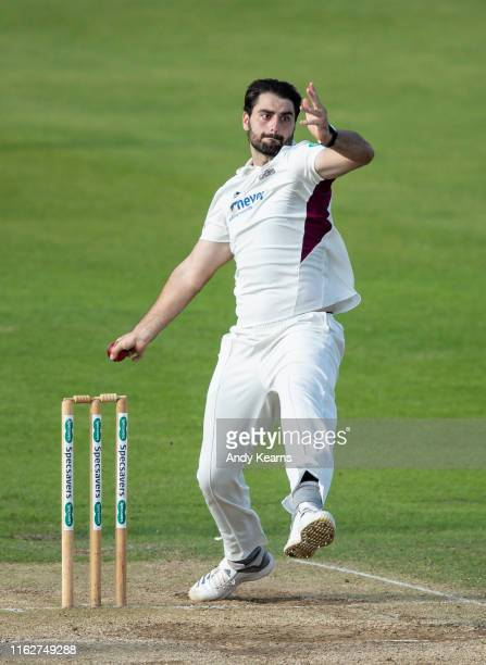 Brett Hutton of Worcestershire in delivery stride during the Specsavers County Championship division two match between Northamptonshire and...
