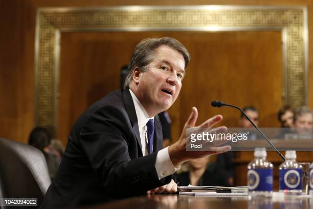 Brett Kavanaugh speaks at the Senate Judiciary Committee hearing on the nomination of Brett Kavanaugh to be an associate justice of the Supreme Court...