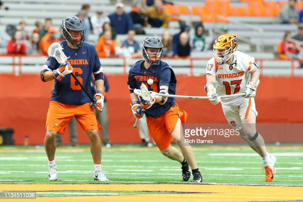 Brett Kennedy of the Syracuse Orange checks the stick of Theo Dol of the Virginia Cavaliers during the first half at the Carrier Dome on March 2 2019...