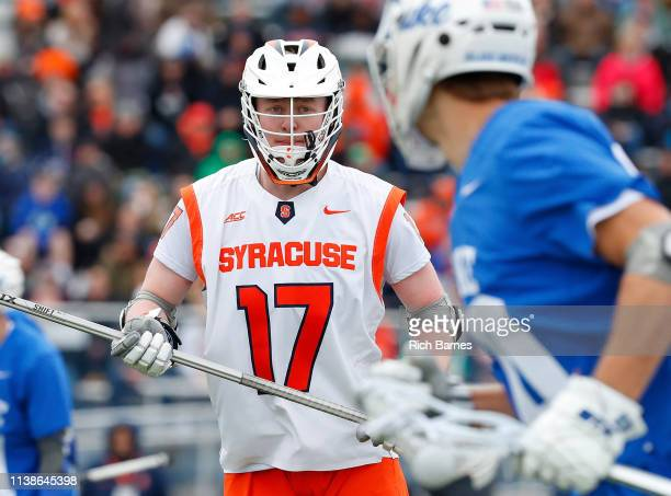 Brett Kennedy of the Syracuse Orange defends against the Duke Blue Devils during the first half at Michael J Bragman Stadium on March 24 2019 in...