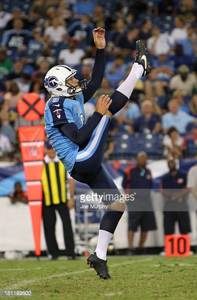Brett Kern of the Tennessee Titans punts the ball against the New Orleans Saints at LP Field on August 30 2012 in Nashville Tennessee