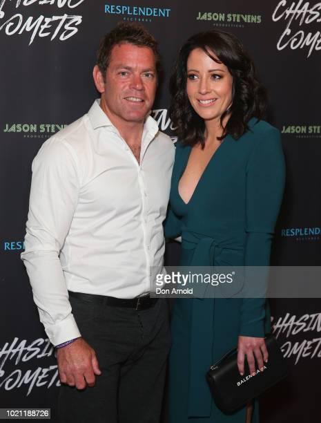 Brett Kimmorley and Lauren Raper attend the Chasing Comets Premiere on August 22, 2018 in Sydney, Australia.
