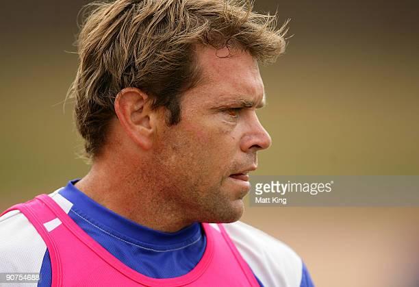 Brett Kimmorley looks on during a Bulldogs NRL training session at Sydney Olympic Park on September 15 2009 in Sydney Australia