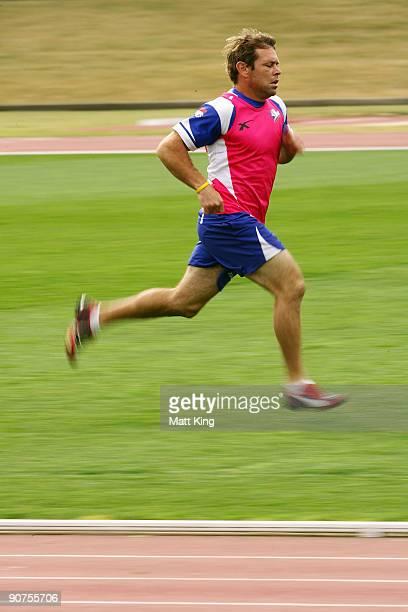 Brett Kimmorley sprints during a Bulldogs NRL training session at Sydney Olympic Park on September 15 2009 in Sydney Australia