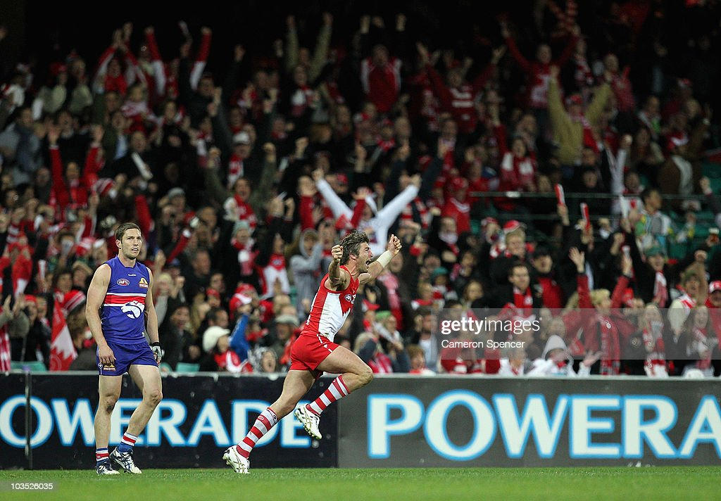 Brett Kirk of the Swans celebrates kicking a goal during the round 21 AFL match between the Sydney Swans and the Western Bulldogs at Sydney Cricket Ground on August 21, 2010 in Sydney, Australia.