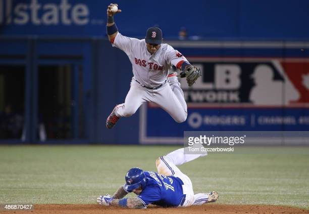 Brett Lawrie of the Toronto Blue Jays is forced out at second base in the fourth inning during MLB game action as Jonathan Herrera of the Boston Red...