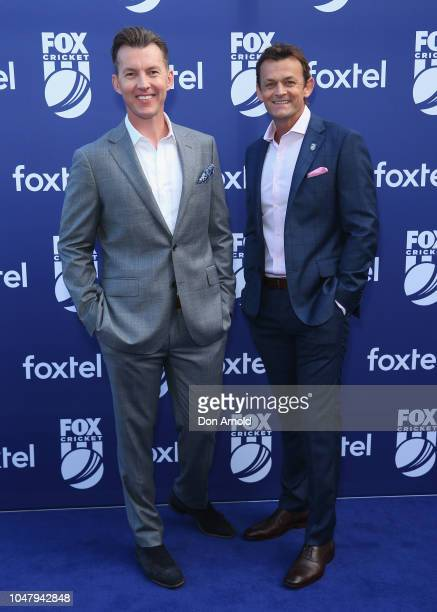 Brett Lee and Adam Gilchrist attend the Fox Cricket Launch at Hordern Pavilion on October 9 2018 in Sydney Australia