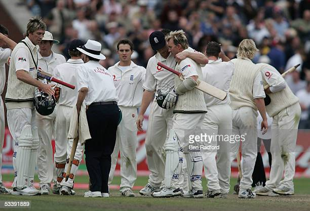 Brett Lee and Glenn McGrath of Australia celebrate at the end of the match as it ends in a draw during day five of the third npower Ashes Test match...