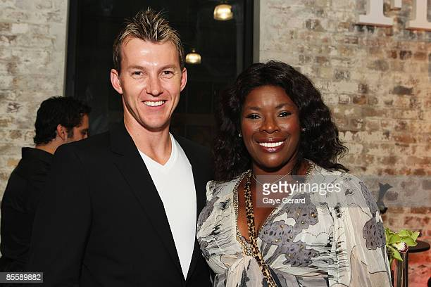 Brett Lee and Marcia Hines pose during the official launch of `My First Gig With Jimmy Barnes` at Studio 24 on March 25 2009 in Sydney Australia