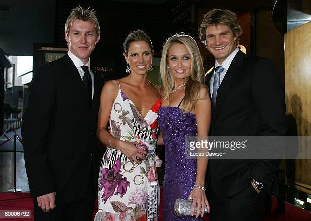 Brett Lee and wife Elizabeth Lee and Lee Furlong and partner Shane Watson arrive at the 2008 Allan Border Medal at Crown Casino on February 26, 2008...