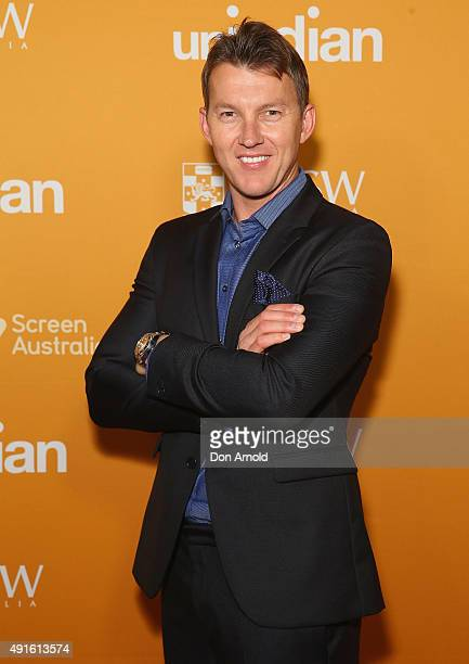 Brett Lee arrives ahead of the Australian premiere of unINDIAN on October 7 2015 in Sydney Australia