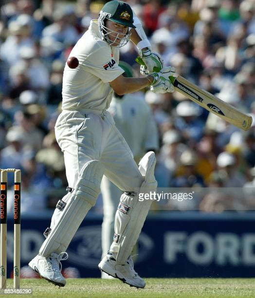 Brett Lee from Australia plays a cut shot during the third Ashes Test against England at the WACA ground in Perth, 30 November 2002. Australia was...