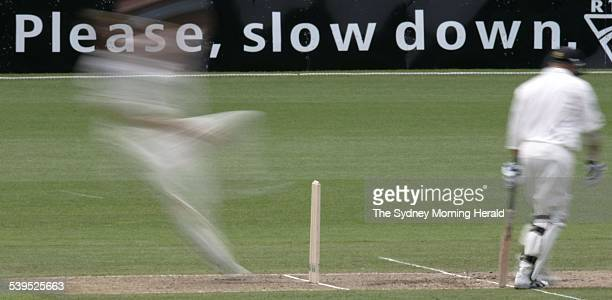 Brett Lee hurtles to the crease for NSW against New Zealand at the SCG 11 November 2004 SMH Picture by TIM CLAYTON