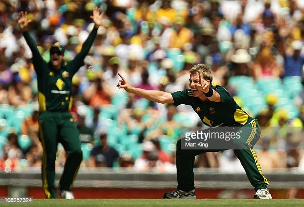 Brett Lee of Australia appeals unsuccessfully for the wicket of Jonathan Trott of England during the Commonwealth Bank Series match between Australia...