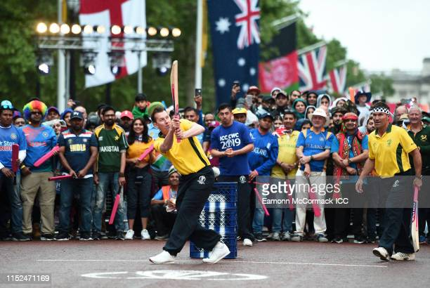 Brett Lee of Australia bats during the ICC Cricket World Cup 2019 Opening Party at The Mall on May 29 2019 in London England