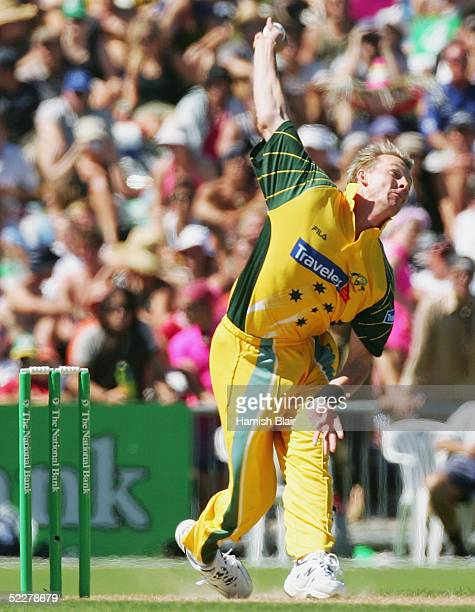 Brett Lee of Australia bowls a delivery at clocked at 160.8 km/h, equal to his fastest ever, during the 5th One Day International between New Zealand...
