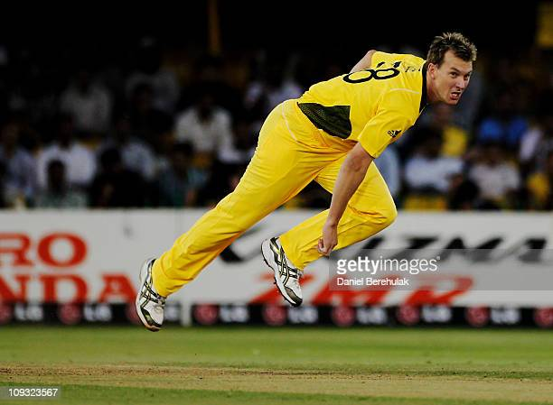 Brett Lee of Australia bowls during the 2011 ICC World Cup Group A match between Australia and Zimbabwe at the Sardar Patel Stadium on February 21...