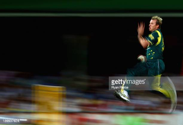 Brett Lee of Australia bowls during the One Day International match between Australia and India at Sydney Cricket Ground on February 26 2012 in...
