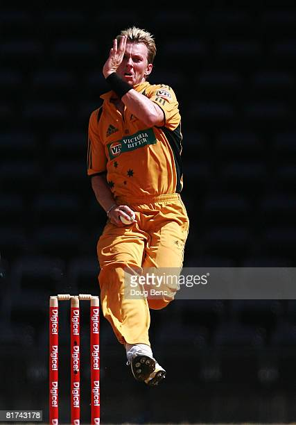 Brett Lee of Australia bowls during the second One-Day International match between Australia and West Indies at National Stadium on June 27, 2008 in...