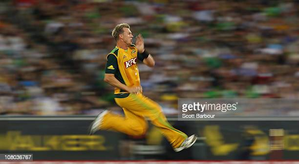 Brett Lee of Australia bowls during the Second Twenty20 International Match between Australia and England at the Melbourne Cricket Ground on January...