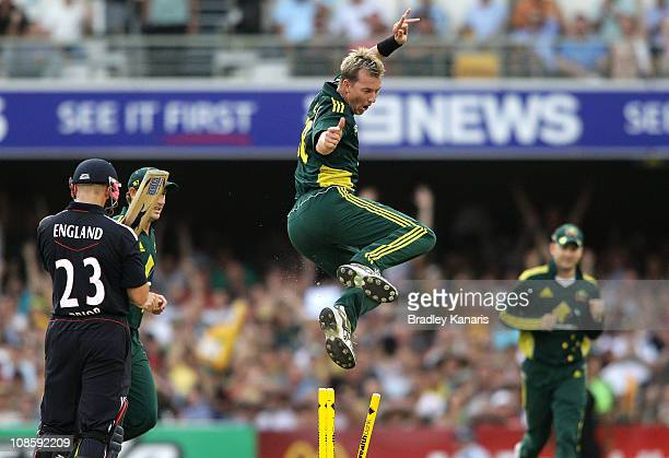 Brett Lee of Australia celebrates after taking the wicket of Matt Prior of England during game four of the Commonwealth Bank One Day International...