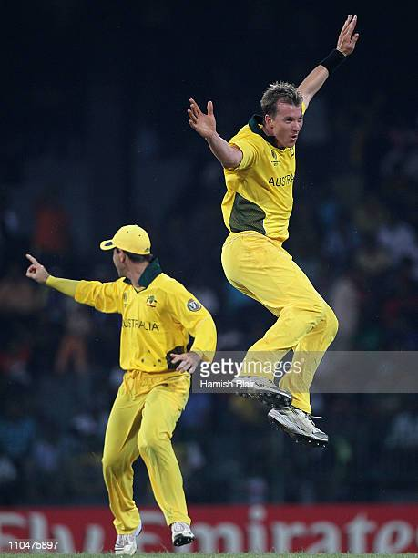 Brett Lee of Australia celebrates after taking the wicket of MisbahulHaq of Pakistan during the 2011 ICC World Cup Group A match between Australia...