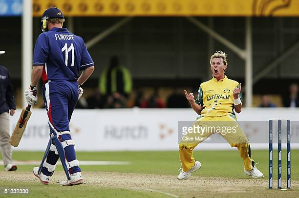 Brett Lee of Australia celebrates dismissing Andrew Flintoff of England the ICC Champions Trophy semi final match between England and Australia at...