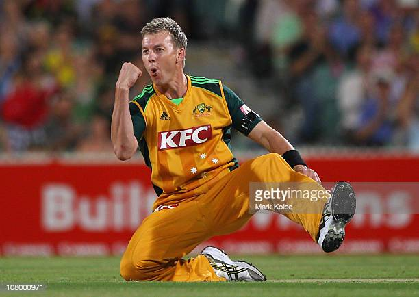 Brett Lee of Australia celebrates taking Australia's first wicket during the First Twenty20 International Match between Austtalia and England at...