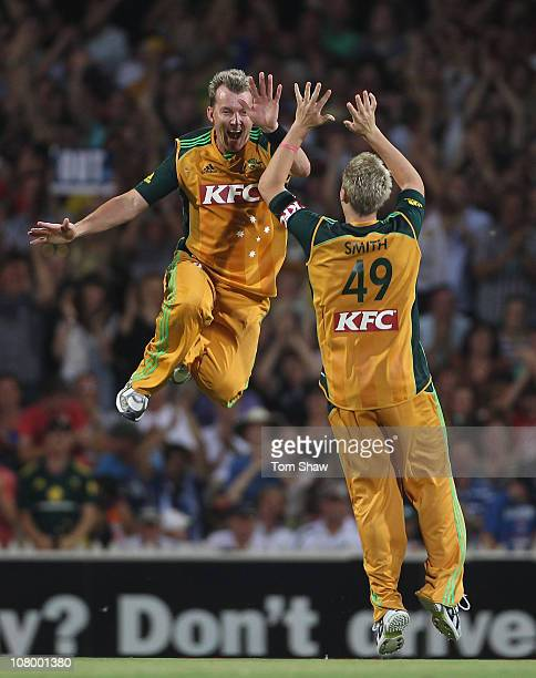 Brett Lee of Australia celebrates taking the catch to dismiss Tim Bresnan of England during the First Twenty20 International Match between Austtalia...
