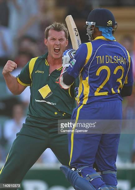 Brett Lee of Australia celebrates taking the wicket of Tillakaratne Dilshan of Sri Lanka during the third One Day International Final series match...