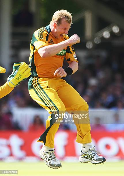 Brett Lee of Australia celebrates the wicket of Adil Rashid of England during the 4th NatWest One Day International between England and Australia at...