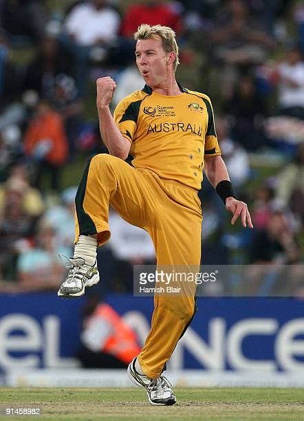 Brett Lee of Australia celebrates the wicket of James Franklin of New Zealand during the ICC Champions Trophy Final between Australia and New Zealand...