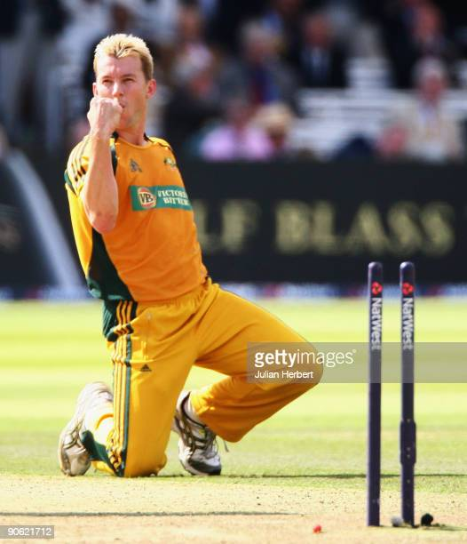 Brett Lee of Australia celebrates the wicket of Stuart Broad of England during the 4th NatWest One Day International between England and Australia at...