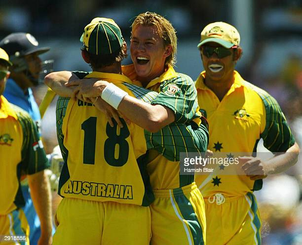 Brett Lee of Australia celebrates the wicket of VVS Laxman of Indiaduring the VB Series One Day International between Australia and India at the WACA...