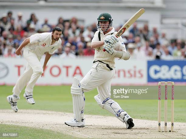 Brett Lee of Australia hits out off the bowling of Steve Harmison of England during day three of the Fourth npower Ashes Test match between England...