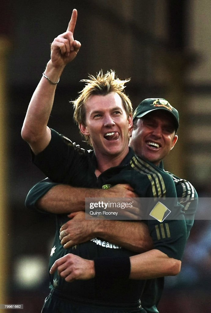 Brett Lee of Australia is hugged by Matthew Hayden after getting the wicket of Sachin Tendulkar of India during the Commonwealth Bank Series match between Australia and India held at the Sydney Cricket Ground February 24, 2008 in Sydney, Australia.