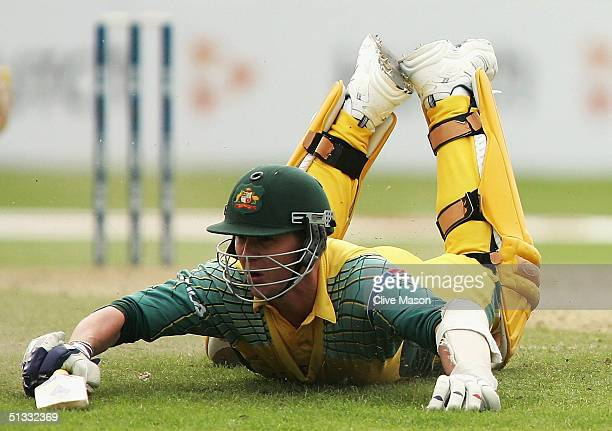 Brett Lee of Australia makes his ground during the ICC Champions Trophy semi final match between England and Australia at the Edgbaston Cricket...