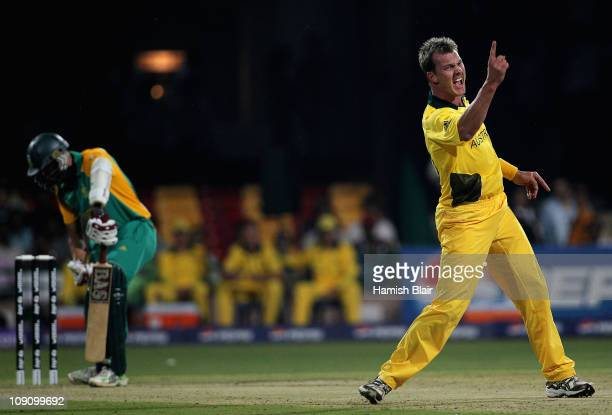 Brett Lee of Australia shows his frustration after appealing unsuccessfully a third time against Hashim Amla of South Africa during the 2011 ICC...