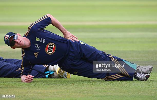 Brett Lee of Australia stretches during a net session at the County Ground on July 23 2009 in Northampton England